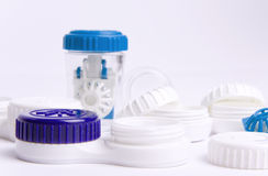 Lens cases. Set of contact lens cases Stock Photo