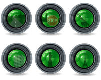 Lens and city. Reflection in glass Stock Photos