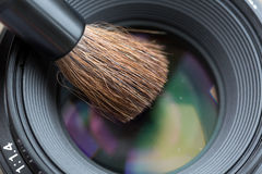 Lens cleaning with Brush Close Up Royalty Free Stock Images