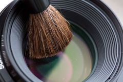 Lens cleaning with Brush Close Up Stock Photos