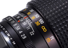 Lens close-up. Close-up of a lens with distance-scale Royalty Free Stock Photo