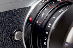 Lens closeup. Close up picture rangefinder camera/lens Royalty Free Stock Photos