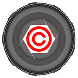 Lens with copyright symbol Stock Photos