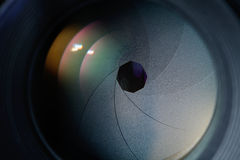 Lens diaphragm. Macro with reflection Royalty Free Stock Photography