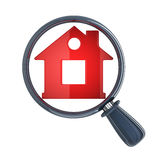 Lens en abstract rood huis Stock Foto
