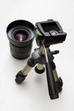Lens en driepoot stock afbeelding