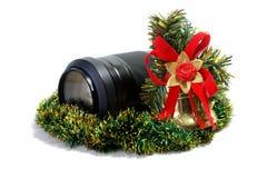 Lens en het stuk speelgoed van Kerstmis royalty-vrije stock foto