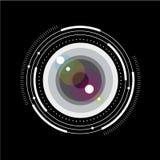 Lens enkel illustration Glass lins med skalan och avläggande av examen Fotolagring eller fotoarkivbild royaltyfri illustrationer