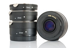 Lens with extension tubes set Stock Photo