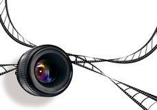 Lens & film strip on white Royalty Free Stock Photos