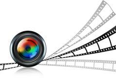 Lens & film strip on white Stock Image