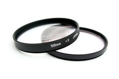 Lens filters. To onto filter mounts stock photography