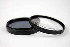 Lens Filters. Polarizer and magnifying photo filter Royalty Free Stock Image