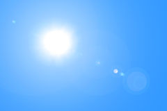 Lens flare in blue sky Royalty Free Stock Photos