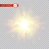 Lens flare light effect. Sun rays with beams isolated on transparent background. Vector illustration. Eps 10 Vector Illustration