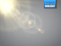 Lens flare light effect. Sun rays with beams isolated. Vector. Lens flare light effect. Sun rays with beams isolated on transparent background. Vector Stock Photo