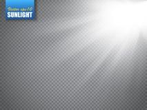 Lens flare light effect. Sun rays with beams isolated. Vector. Lens flare light effect. Sun rays with beams isolated on transparent background. Vector Stock Photos