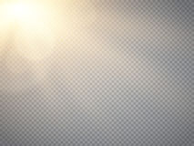 Lens flare light effect. Sun rays with beams isolated. Vector Stock Photo