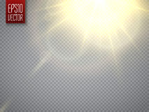 Lens flare light effect. Sun rays with beams . Vector. Lens flare light effect. Sun rays with beams  on transparent background. Vector illustration Stock Photos