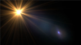 Lens Flare light over Black Background. Easy to add overlay. Or screen filter over photo Stock Image