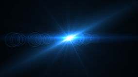 Lens Flare light over Black Background. Easy to add overlay  Royalty Free Stock Photo
