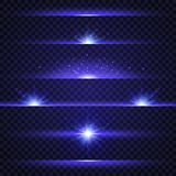 Lens flare set. Collection of blue light effects on transparent background. Glowing lights, stars and sparkles. Star. Burst. Flash with rays and spotlight stock illustration
