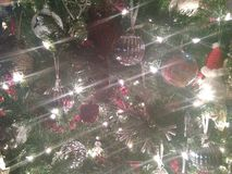 Lens Flares on Christmas Holiday Tree royalty free stock images