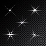Lens flares star lights vector. Realistic white lens flares star lights and glow  elements  black background vector illustration Stock Photo