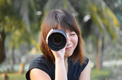 Lens Girl Royalty Free Stock Photos