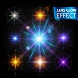 Lens glödeffekt Uppsättning av glödande ljusa reflexioner, realistiska ljusa ljusa linseffekter Använd designen, glöd för Arkivfoto