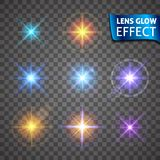 Lens glow effect. Glowing light glare, bright realistic lighting effects. On a transparent background. Use design, glow for the New Year, Christmas and holidays Stock Photography