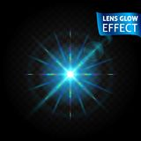 Lens glow effect. Glowing light reflections, realistic bright light effects blue lens color. Use design, glow for the. Holidays. Vector illustration Stock Images