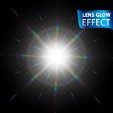 Lens glow effect. Glowing light reflections, realistic bright light effects on a dark background. Use design, glow for. The holidays. Vector illustration Royalty Free Stock Images