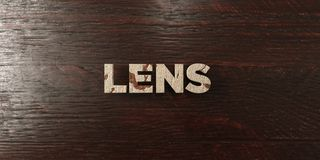 Lens - grungy wooden headline on Maple - 3D rendered royalty free stock image. This image can be used for an online website banner ad or a print postcard royalty free illustration