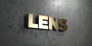 Lens - guld- tecken som monteras på den glansiga marmorväggen - 3D framförde den fria materielillustrationen för royalty vektor illustrationer