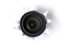 Lens in hole. The camera lens in hole Royalty Free Stock Image