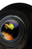 Lens and hood, isolated, large detailed macro zoom closeup, vertical Royalty Free Stock Photo