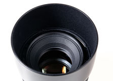 Lens hood and lens Stock Images