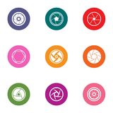Lens icons set, flat style. Lens icons set. Flat set of 9 lens vector icons for web isolated on white background Stock Photos