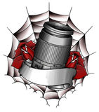 Lens Illustration. Isoled white tattoo Royalty Free Stock Photography