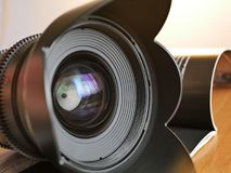 Lens on the journal. View from the bayonet stock images