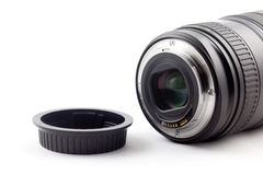 Lens and lens cap Royalty Free Stock Photo