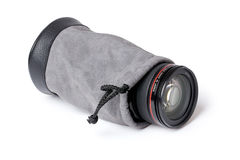 Lens in lens case Stock Photography