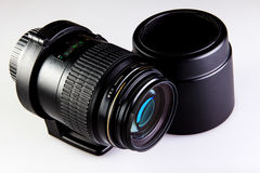 Lens macro with collar and hood Stock Image