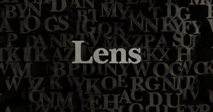 Lens - metallisk 3D som framfördes, satte rubrikillustrationen Fotografering för Bildbyråer