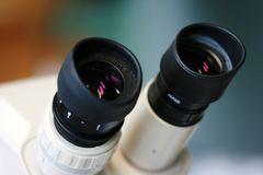 Lens from microscope Stock Images