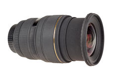 The lens of modern digital camera, side view. Royalty Free Stock Photo