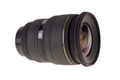 Lens of modern digital camera, view of front lens Royalty Free Stock Photo