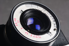 Lens old photo camera with a large depth of field Royalty Free Stock Images