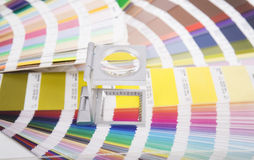 Lens and pantone. Design and prepress concept Royalty Free Stock Images